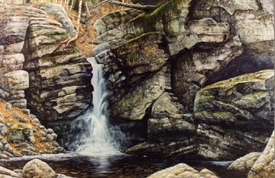 Woodland Falls oil painting by Frank Wilson,landscape painting, landscape paintings,landscapes,