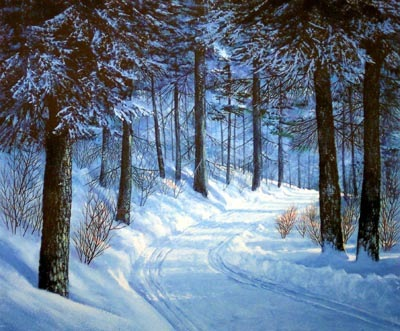 Forest Road, original oil painting by Frank Wilson, winter, snowscape,