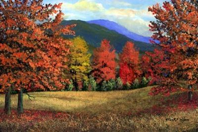 landscape painting, Misty Autumn, oil painting by Frank Wilson