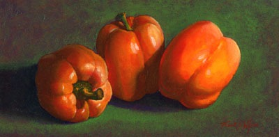 still life painting, Yellow Peppers, oil painting by Frank Wilson
